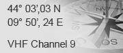44� 03',03 N - 09� 50', 24 E - VHF Channel 9